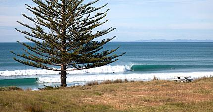 Nice waves at Wainui Beach, north of Gisborne, on the East Coast of New Zealand.